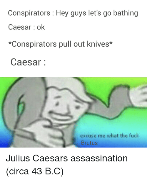 Assassination, Fuck, and Julius Caesar: Conspirators Hey guys let's go bathing  Caesar ok  *Conspirators pull out knives*  Caesar:  excuse me what the fuck  Brutus Julius Caesars assassination (circa 43 B.C)