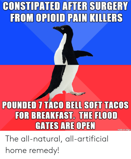 Taco Bell, Breakfast, and Home: CONSTIPATED AFTER SURGERY  FROM OPIOID PAIN KILLERS  POUNDED 7 TACO BELL SOFT TACOS  FOR BREAKFAST. THE FLOOD  GATES ARE OPEN  made on imgur The all-natural, all-artificial home remedy!