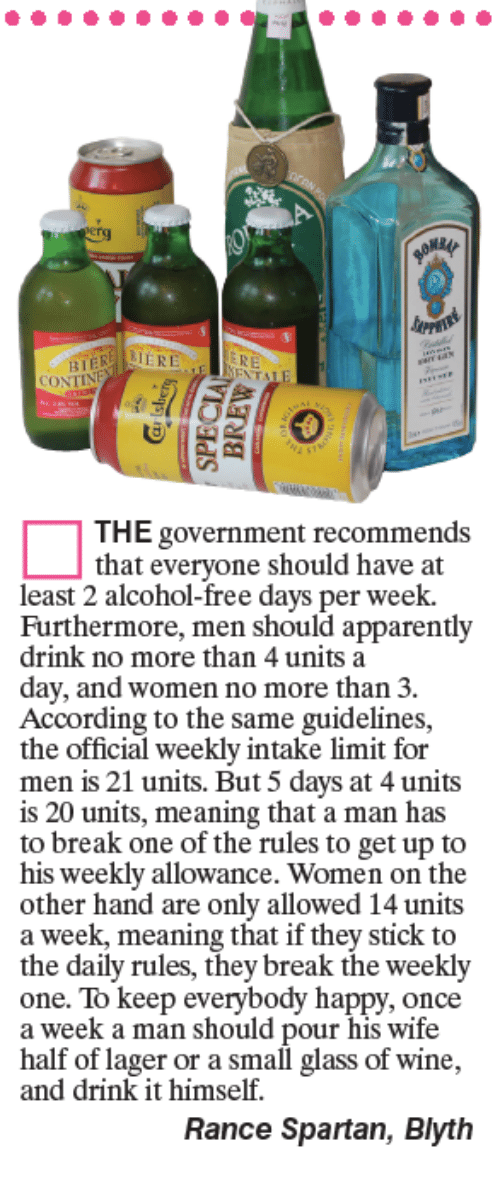 accordance: CONT  THE government recommends  that everyone should have at  least 2 alcohol-free days per week.  Furthermore, men should apparently  drink no more than 4 units a  day, and women no more than 3.  According to the same guidelines,  the official weekly intake limit for  men is 21 units. But 5 days at 4 units  is 20 units, meaning that a man has  to break one of the rules to get up to  his weekly allowance. Women on the  other hand are only allowed 14 units  a week, meaning that if they stick to  the daily rules, they break the weekly  one. To keep everybody happy, once  a week a man should pour his wife  half of lager or a small glass of wine,  and drink it himself.  Rance Spartan, Blyth