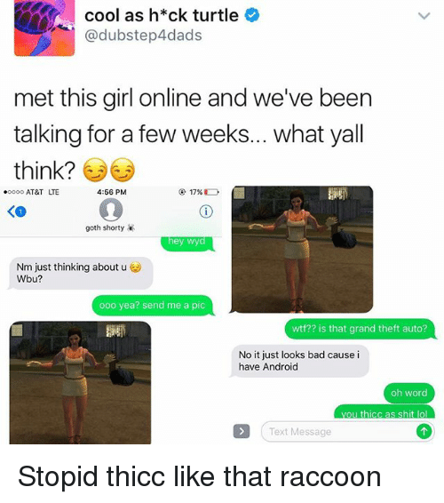 Lol Texts: cool as h*ck turtle  dubstep4dads  met this girl online and we've been  talking for a few weeks... what yall  think?  4:56 PM  oooo AT&T LTE  goth shorty  hey wyd  Nm just thinking about u  Wbu?  ooo ea? send me a pic  wtf?? s that grand theft auto?  No it just looks bad cause i  have Android  oh word  ou thicc as shit lol  Text Message Stopid thicc like that raccoon
