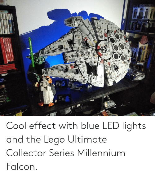 lights: Cool effect with blue LED lights and the Lego Ultimate Collector Series Millennium Falcon.