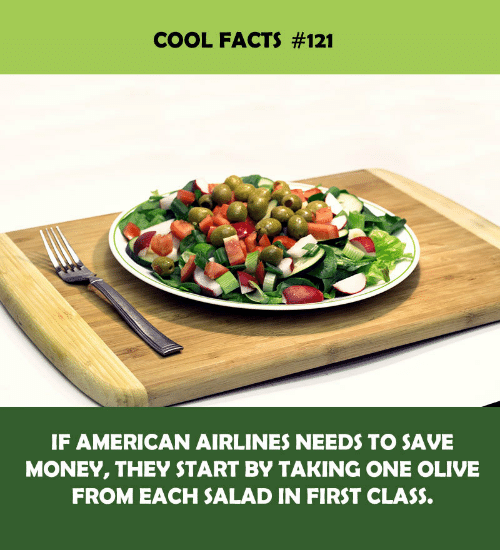 Facts, Money, and American: COOL FACTS #121  IF AMERICAN AIRLINES NEEDS TO SAVE  MONEY, THEY START BY TAKING ONE OLIVE  FROM EACH SALAD IN FIRST CLASS.