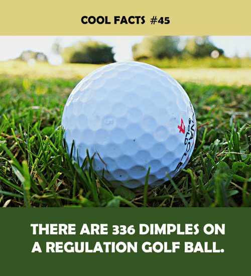 Facts, Cool, and Golf: COOL FACTS #45  THERE ARE 336 DIMPLES ON  A REGULATION GOLF BALL.