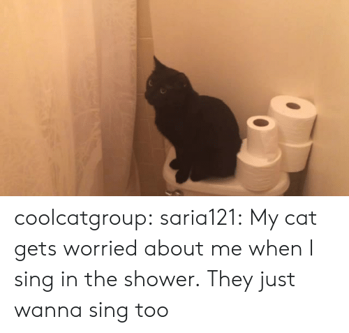 Shower, Tumblr, and Blog: coolcatgroup:  saria121:  My cat gets worried about me when I sing in the shower.  They just wanna sing too