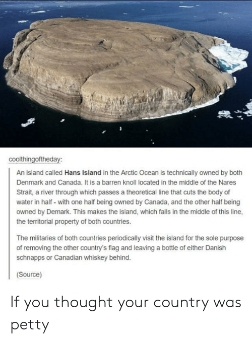Territorial: coolthingoftheday:  An island called Hans Island in the Arctic Ocean is technically owned by both  Denmark and Canada. It is a barren knoll located in the middle of the Nares  Strait, a river through which passes a theoretical line that cuts the body of  water in half- with one half being owned by Canada, and the other half being  owned by Demark. This makes the island, which falls in the middle of this line,  the territorial property of both countries.  The militaries of both countries periodically visit the island for the sole purpose  of removing the other country's flag and leaving a bottle of either Danish  schnapps or Canadian whiskey behind.  Source) If you thought your country was petty
