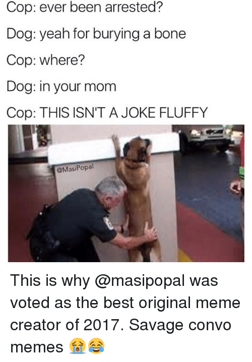 meme creator: Cop: ever been arrested?  Dog: yeah for burying a bone  Cop: where?  Dog: in your mom  Cop: THIS ISN'T A JOKE FLUFFY  @MasiPopal This is why @masipopal was voted as the best original meme creator of 2017. Savage convo memes 😭😂