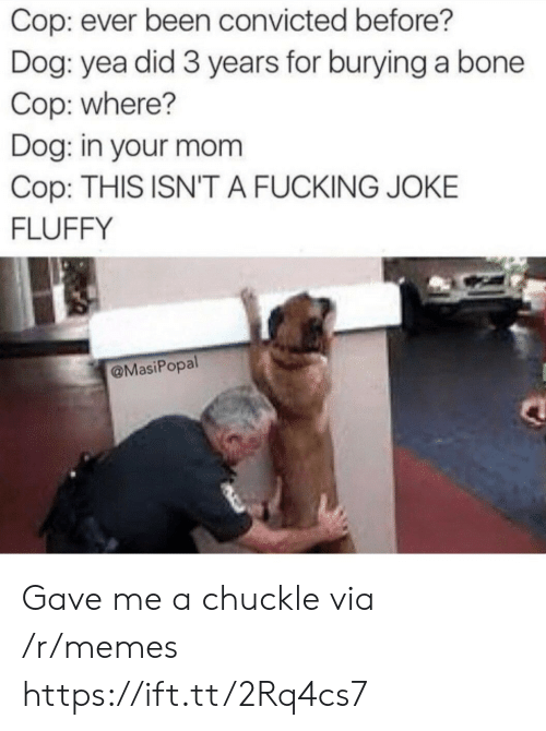 Fucking, Memes, and Convicted: Cop: ever been convicted before?  Dog: yea did 3 years for burying a bone  Cop: where?  Dog: in your mom  Cop: THIS ISN'T A FUCKING JOKE  FLUFFY  @MasiPopal Gave me a chuckle via /r/memes https://ift.tt/2Rq4cs7