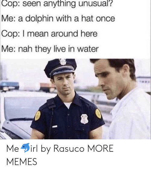 They Live: Cop:  seen anything unusual?  Me: a dolphin with a hat once  Cop:  I mean around here  Me: nah they live in water Me🐬irl by Rasuco MORE MEMES