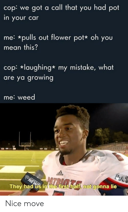 my mistake: cop: we got a call that you had pot  in your car  me: *pulls out flower pot* oh you  mean this?  cop: laughing* my mistake, what  are ya growing  me:weed  0didds  NEWin the first half, not gonna lie  They had Nice move