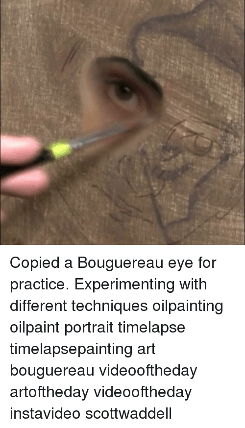 experimenting: Copied a Bouguereau eye for practice. Experimenting with different techniques oilpainting oilpaint portrait timelapse timelapsepainting art bouguereau videooftheday artoftheday videooftheday instavideo scottwaddell