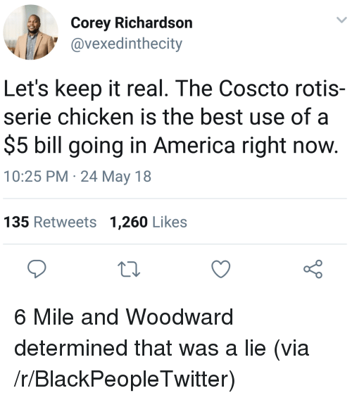 keep it real: Corey Richardson  @vexedinthecity  Let's keep it real. The Coscto rotis-  serie chicken is the best use of a  $5 bill going in America right now  10:25 PM 24 May 18  135 Retweets 1,260 Likes  o 0 <p>6 Mile and Woodward determined that was a lie (via /r/BlackPeopleTwitter)</p>