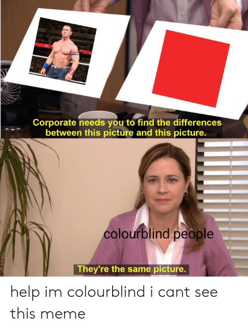 Meme, Reddit, and Help: Corporate needs you to find the differences  between this picture and this picture.  colourblind people  They're the same picture. help im colourblind i cant see this meme