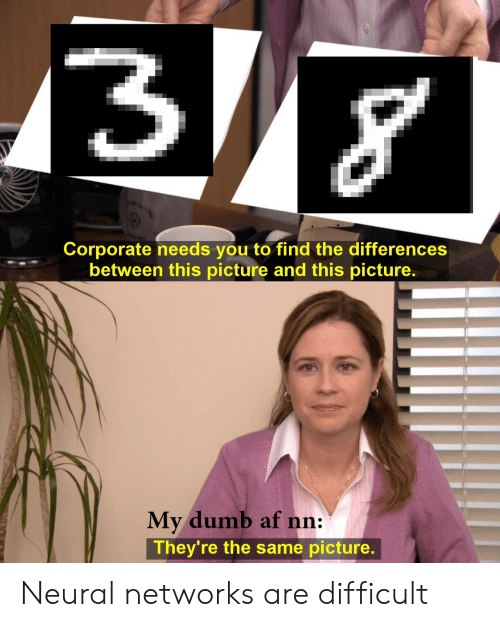 Af, Dumb, and Corporate: Corporate needs you to find the differences  between this picture and this picture  Mv dumb af nn:  They're the same picture. Neural networks are difficult