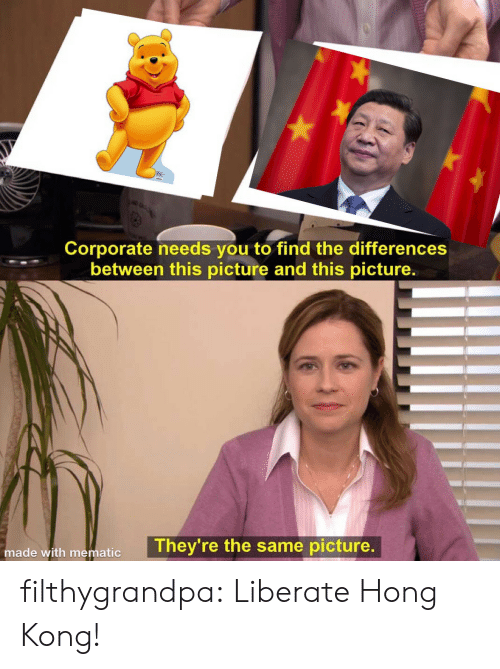 Tumblr, Blog, and Hong Kong: Corporate needs you to find the differences  between this picture and this picture.  They're the same picture.  made with mematic filthygrandpa:  Liberate Hong Kong!