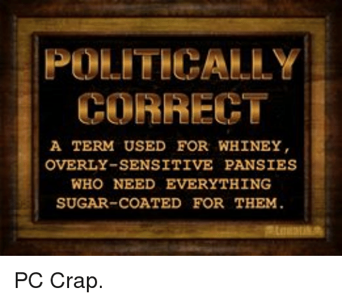 Overly Sensitive: CORRECT  A TERM USED FOR WHINEY  OVERLY-SENSITIVE PANSIES  WHO NEED EVERYTHING  SUGAR-COATED FOR THEM. PC Crap.