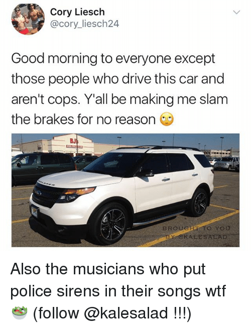 Alsoe: Cory Liesch  @cory liesch24  Good morning to everyone except  those people who drive this car and  aren't cops. Y all be making me slam  the brakes for no reason  BROUGER TO YOU  BY ALESALAD Also the musicians who put police sirens in their songs wtf 🥗 (follow @kalesalad !!!)