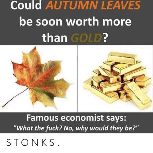 """Soon..., Fuck, and Gold: Could AUTUMN LEAVES  be soon worth more  than GOLD?  W  Famous economist says:  """"What the fuck? No, why would they be?"""" S T O N K S ."""