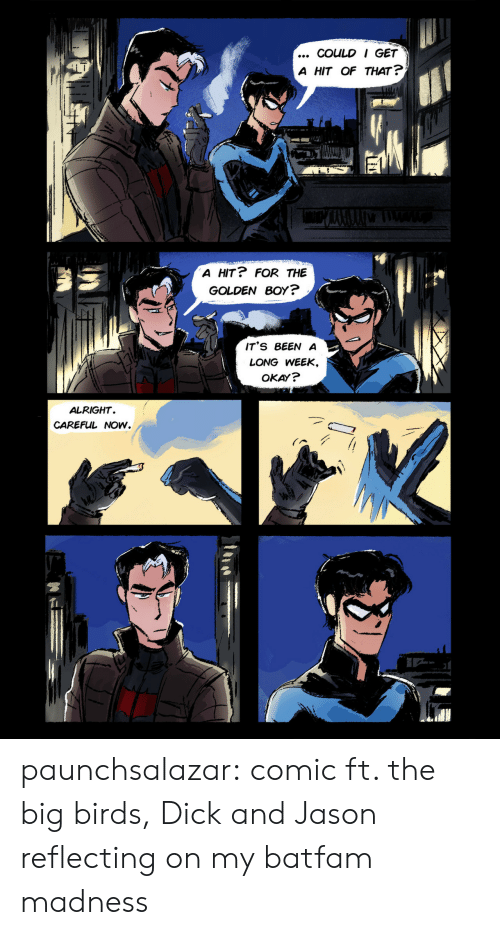 Long Week: COULD I GET  A HIT OF THAT ?  A HIT? FOR THE  GOLDEN BOY?  IT'S BEEN A  LONG WEEK,  OKAY?  ALRIGHT  CAREFUL NOW. paunchsalazar:  comic ft. the big birds, Dick and Jason reflecting on my batfam madness