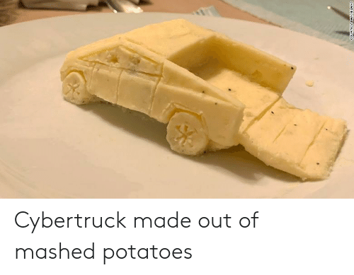 Potatoes, Made, and Mashed Potatoes: COURTESY DAN MILANO Cybertruck made out of mashed potatoes
