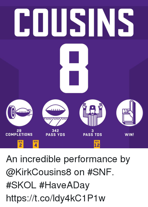 Memes, 🤖, and Snf: COUSINS  29  COMPLETIONS  342  PASS YDS  3  PASS TDs  WIN!  WK  WK  WK  2  4  12 An incredible performance by @KirkCousins8 on #SNF. #SKOL #HaveADay https://t.co/ldy4kC1P1w