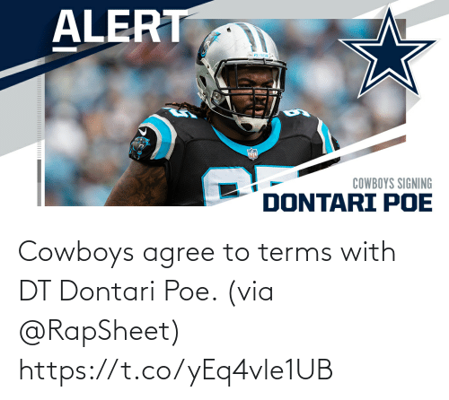 Terms: Cowboys agree to terms with DT Dontari Poe. (via @RapSheet) https://t.co/yEq4vle1UB
