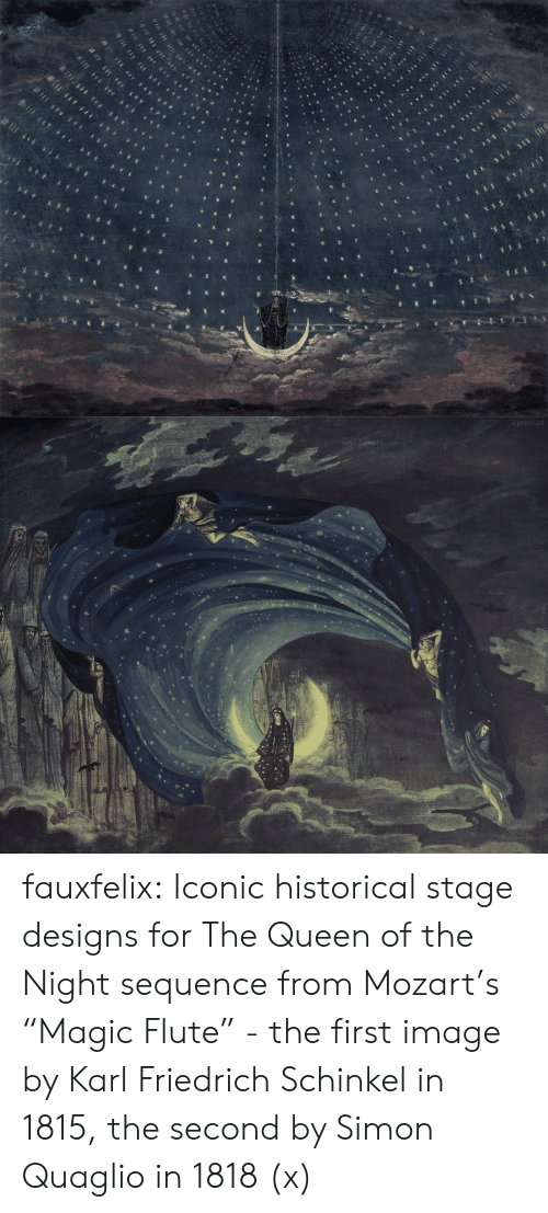 "Wordpress: cpress.cn fauxfelix: Iconic historical stage designs for The Queen of the Night sequence from Mozart's ""Magic Flute"" - the first image by Karl Friedrich Schinkel in 1815, the second by Simon Quaglio in 1818 (x)"