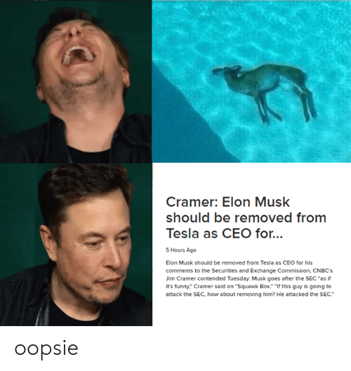 """Jim Cramer: Cramer: Elon Musk  should be removed from  Tesla as CEO for...  5 Hours Ago  Elon Musk should be removed from Tesla as CEO for his  comments to the Securities and Exchange Commission, CNBC's  Jim Cramer contended Tuesday. Musk goes after the SEC """"as if  it's funny."""" Cramer said on """"Squawk Box. If this guy is going to  attack the SEC, how about removing him? He attacked the SEC. oopsie"""