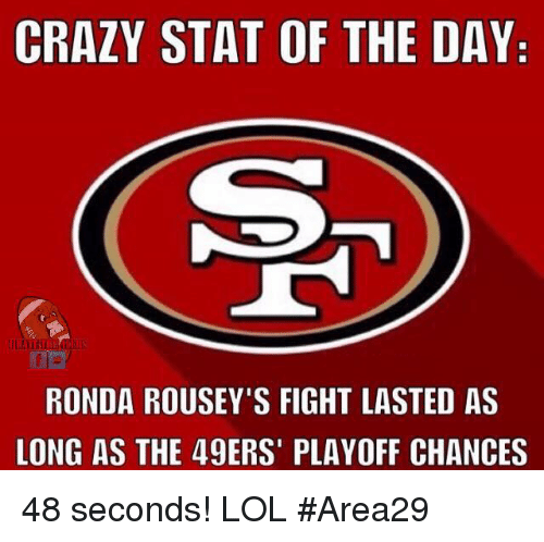 49er: CRAZY STAT OF THE DAY  RONDA ROUSEY'S FIGHT LASTED AS  LONG AS THE 49ERS' PLAYOFF CHANCES 48 seconds! LOL  #Area29