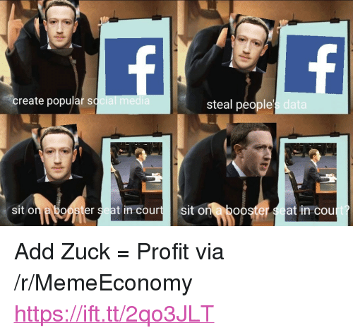 "Cou: create popular sq  steal people  s data  sit on a booster seat in courtsit on a boo  er  at in cou <p>Add Zuck = Profit via /r/MemeEconomy <a href=""https://ift.tt/2qo3JLT"">https://ift.tt/2qo3JLT</a></p>"