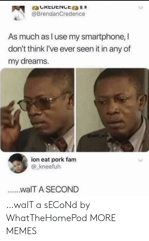 ion: CREDENCE LI  @BrendanCredence  As much as l use my smartphone, I  don't think I've ever seen it in any of  my dreams.  will ent  ion eat pork fam  @_kneefuh  ...walT A SECOND …waIT a sECoNd by WhatTheHomePod MORE MEMES
