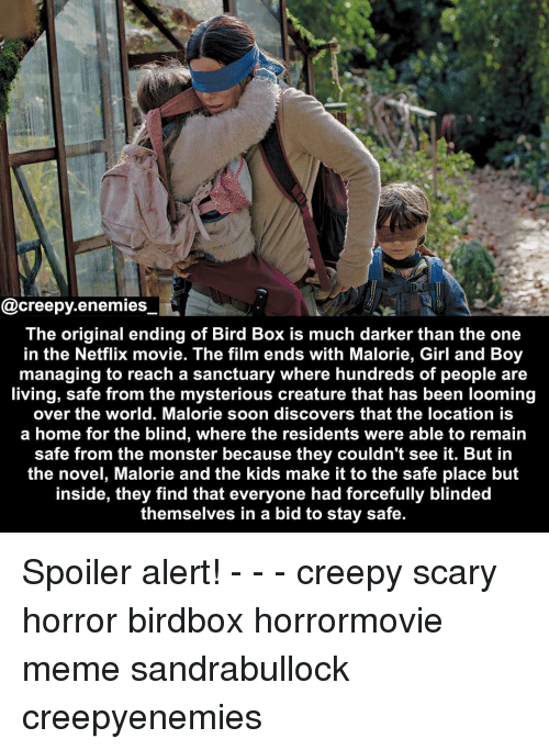 Bid: @creepy.enemies  The original ending of Bird Box is much darker than the one  in the Netflix movie. The film ends with Malorie, Girl and Boy  managing to reach a sanctuary where hundreds of people are  living, safe from the mysterious creature that has been looming  over the world. Malorie soon discovers that the location is  a home for the blind, where the residents were able to remain  safe from the monster because they couldn't see it. But in  the novel, Malorie and the kids make it to the safe place but  inside, they find that everyone had forcefully blinded  themselves in a bid to stay safe. Spoiler alert! - - - creepy scary horror birdbox horrormovie meme sandrabullock creepyenemies
