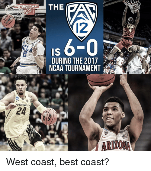 ncaa tournament: CREGON  24  THE  CBSSports  DURING THE 2017  NCAA TOURNAMENT  USC West coast, best coast?