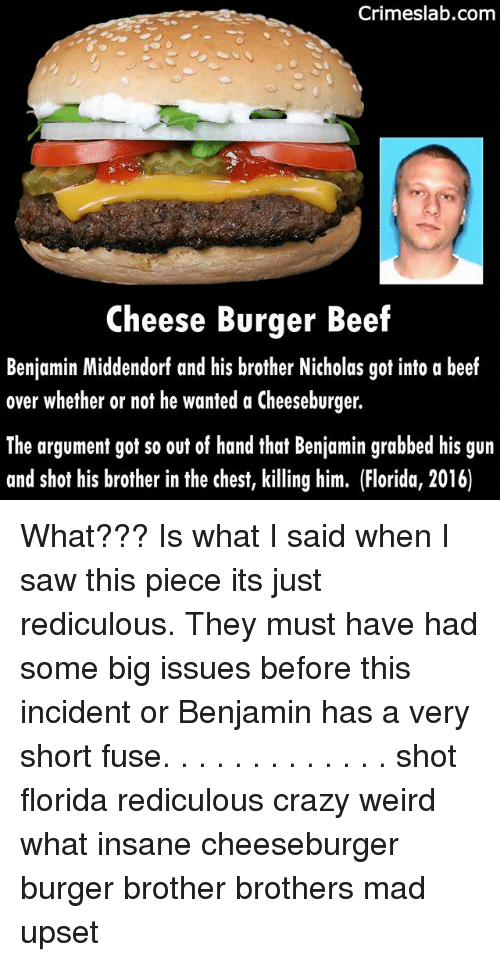 Upsetted: Crimeslab.comm  Cheese Burger Beef  Benjamin Middendorf and his brother Nicholas got into a beef  over whether or not he wanted a Cheeseburger.  The argument got so out of hand that Benjamin grabbed his gun  and shot his brother in the chest, killing him. (Florida, 2016) What??? Is what I said when I saw this piece its just rediculous. They must have had some big issues before this incident or Benjamin has a very short fuse. . . . . . . . . . . . . shot florida rediculous crazy weird what insane cheeseburger burger brother brothers mad upset