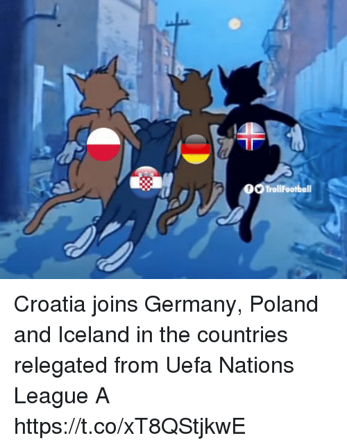 Croatia: Croatia joins Germany, Poland and Iceland in the countries relegated from Uefa Nations League A https://t.co/xT8QStjkwE
