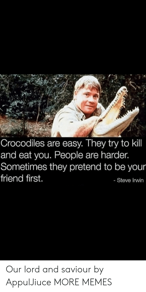 You People: Crocodiles are easy. They try to kil  and eat you. People are harder.  Sometimes they pretend to be your  friend first.  - Steve Irwin Our lord and saviour by AppulJiuce MORE MEMES