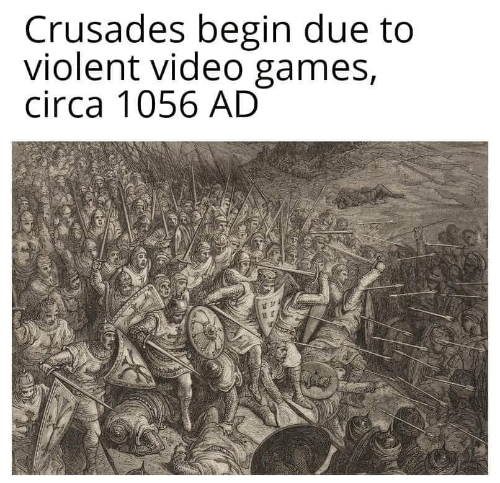 Video Games, Games, and Video: Crusades begin due to  violent video games,  circa 1056 AD