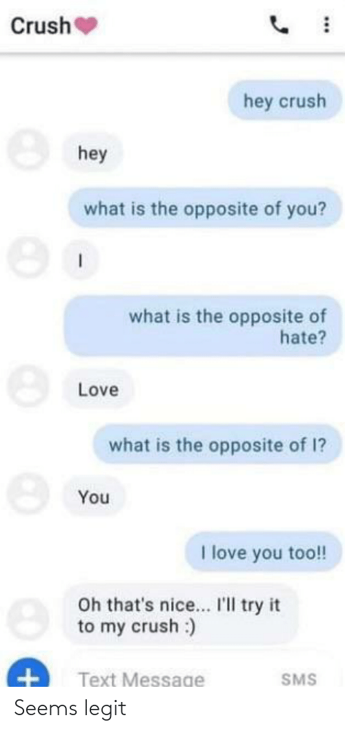 Crush, Love, and I Love You: Crush  hey crush  8 hey  what is the opposite of you?  what is the opposite of  hate?  Love  what is the opposite of 1?  You  I love you too!!  Oh that's nice.. I'Il try it  to my crush :)  Text Message  SMS Seems legit
