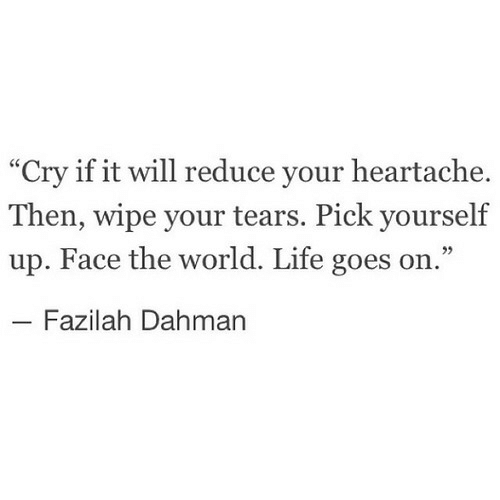 """Life, World, and Cry: """"Cry if it will reduce your heartache.  Then, wipe your tears. Pick yourself  up. Face the world. Life goes on.""""  Fazilah Dahman"""