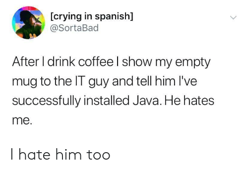 Crying, Spanish, and Coffee: [crying in spanish]  @SortaBad  After I drink coffee I show my empty  mug to the IT guy and tell him I've  successfully installed Java. He hates  me. I hate him too