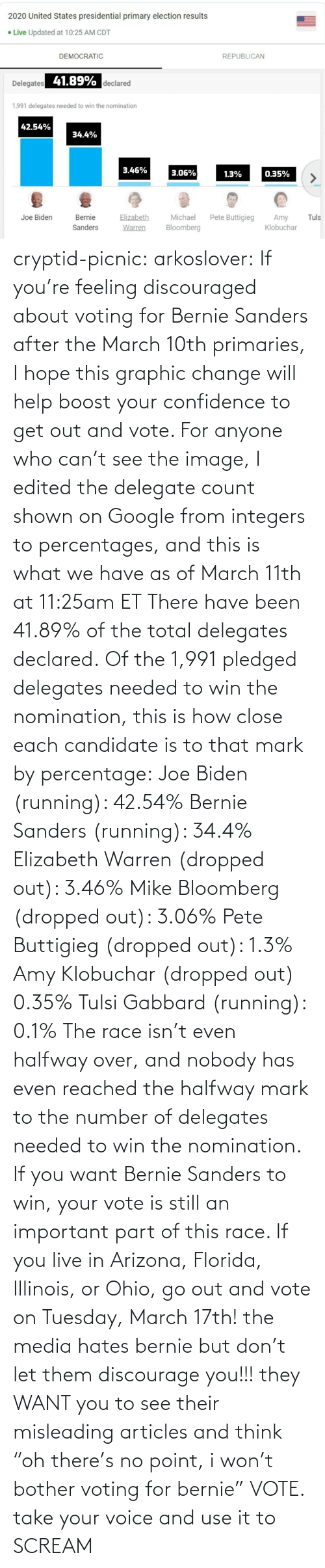 "Bernie Sanders, Confidence, and Elizabeth Warren: cryptid-picnic: arkoslover:   If you're feeling discouraged about voting for Bernie Sanders after the March 10th primaries, I hope this graphic change will help boost your confidence to get out and vote. For anyone who can't see the image, I edited the delegate count shown on Google from integers to percentages, and this is what we have as of March 11th at 11:25am ET There have been 41.89% of the total delegates declared. Of the 1,991 pledged delegates needed to win the nomination, this is how close each candidate is to that mark by percentage: Joe Biden (running): 42.54% Bernie Sanders (running): 34.4% Elizabeth Warren (dropped out): 3.46% Mike Bloomberg (dropped out): 3.06% Pete Buttigieg (dropped out): 1.3% Amy Klobuchar (dropped out) 0.35% Tulsi Gabbard (running): 0.1% The race isn't even halfway over, and nobody has even reached the halfway mark to the number of delegates needed to win the nomination. If you want Bernie Sanders to win, your vote is still an important part of this race. If you live in Arizona, Florida, Illinois, or Ohio, go out and vote on Tuesday, March 17th!    the media hates bernie but don't let them discourage you!!! they WANT you to see their misleading articles and think ""oh there's no point, i won't bother voting for bernie"" VOTE. take your voice and use it to SCREAM"