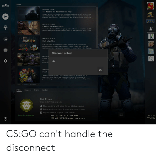 cant handle: CS:GO can't handle the disconnect