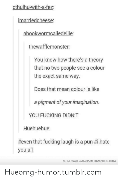 Fucking, Omg, and Tumblr: cthulhu-with-a-fez:  marriedcheese  abookwormcalledellie:  thewafflemonster:  You know how there's a theory  that no two people see a col  the exact same way  Does that mean colour is like  a pigment of your imagination.  YOU FUCKING DIDN'T  Huehuehue  #even that fucking laugh is a pun #1 hate  you all  MORE WATERMARKS @ DAMNLOLCOM Hueomg-humor.tumblr.com