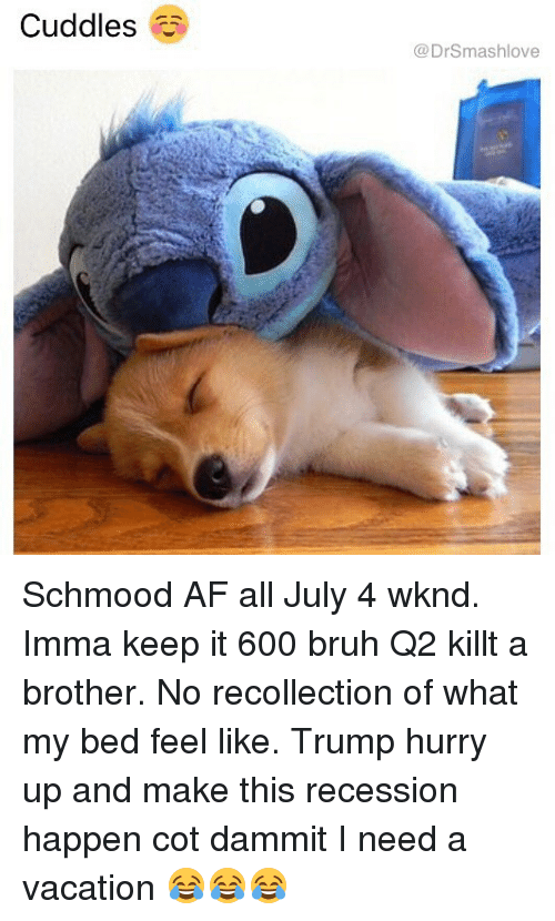 Af, Bruh, and Memes: Cuddles  @DrSmashlove Schmood AF all July 4 wknd. Imma keep it 600 bruh Q2 killt a brother. No recollection of what my bed feel like. Trump hurry up and make this recession happen cot dammit I need a vacation 😂😂😂