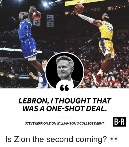 College, Lebron, and Steve Kerr: culd  2015  SPORT GRAPHİCS  LEBRON, I THOUGHT THAT  WAS A ONE-SHOT DEAL.  STEVE KERR ON ZION WILLIAMSON'S COLLEGE DEBUT Is Zion the second coming? 👀
