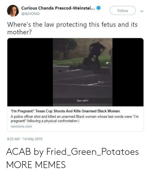 "Dank, Memes, and Police: Curious Chanda Prescod-Weinstei...  @IBJIYONGI  Follow  Where's the law protecting this fetus and its  mother?  Son wtf!!!  I'm Pregnant!' Texas Cop Shoots And Kills Unarmed Black Woman  A police officer shot and killed an unarmed Black woman whose last words were ""l'm  pregnant!"" following a physical confrontation i  newsone.comm  6:25 AM- 14 May 2019 ACAB by Fried_Green_Potatoes MORE MEMES"