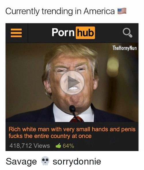 Small Hands: Currently trending in America  E Porn  hub  The Horny Nun  Rich white man with very small hands and penis  fucks the entire country at once  418,712 Views 64% Savage 💀 sorrydonnie