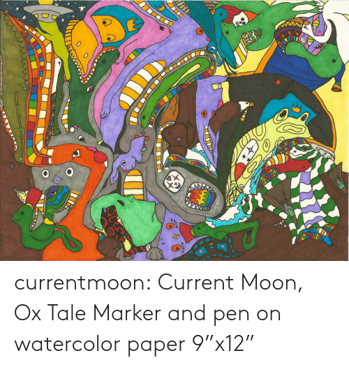 """Moon: currentmoon: Current Moon, Ox Tale Marker and pen on watercolor paper 9""""x12"""""""