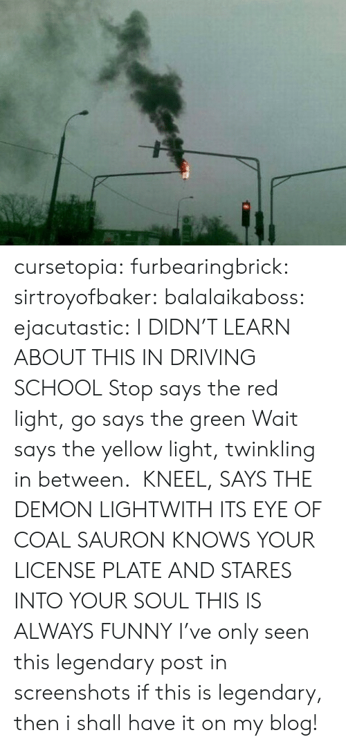 yellow: cursetopia:  furbearingbrick:  sirtroyofbaker:  balalaikaboss:  ejacutastic:  I DIDN'T LEARN ABOUT THIS IN DRIVING SCHOOL  Stop says the red light, go says the green Wait says the yellow light,twinkling in between. KNEEL, SAYS THE DEMON LIGHTWITH ITS EYE OF COALSAURON KNOWS YOUR LICENSE PLATEAND STARES INTO YOUR SOUL  THIS IS ALWAYS FUNNY  I've only seen this legendary post in screenshots  if this is legendary, then i shall have it on my blog!