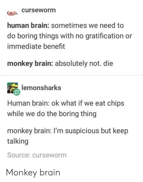 Gratification: curseworm  human brain: sometimes we need to  do boring things with no gratification or  immediate benefit  monkey brain: absolutely not. die  lemonsharks  Human brain: ok what if we eat chips  while we do the boring thing  monkey brain: I'm suspicious but keep  talking  Source: curseworm Monkey brain