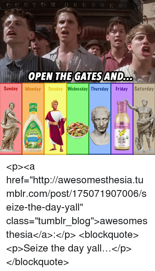 """Friday, Tumblr, and Blog: CUS TOMDRE  OPEN THE GATES AND  ..  Sunday Monday Tuesday Wednesday Thursday Friday  Saturday  TESSEMAE'S  Creamy  Caesar  ORGANIC  CREAMY  CAESAR  FL02 (296)  BETTER ABSORE  ITAMINS <p><a href=""""http://awesomesthesia.tumblr.com/post/175071907006/seize-the-day-yall"""" class=""""tumblr_blog"""">awesomesthesia</a>:</p>  <blockquote><p>Seize the day yall…</p></blockquote>"""